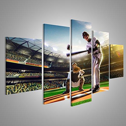 Bild Bilder auf Leinwand Professionelle Baseball-Spieler auf der großen Arena Wandbild Leinwandbild Poster XXL Format (Leinwand Baseball)
