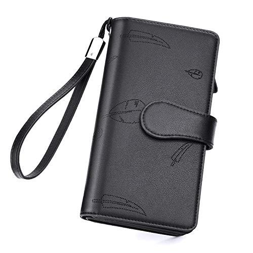 Geldbörse Damen Leder, Vogek Geldbeutel Damen mit RFID Schutz Viele Fächer Portemonnaie Frauen Brieftasche Damengeldbörse Portmonee Leder mit Handyfach und Reißverschluss