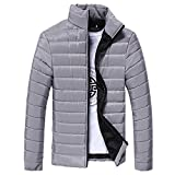 IMJONO Boys Men warm Stand Kragen Slim Winter Zip Mantel Outwear Jacke (EU-52/CN-3XL,Grau)