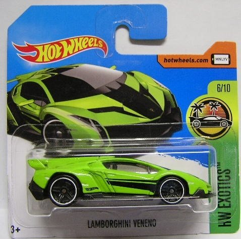 Hot Wheels 2017 HW Exotics Lamborghini Veneno Green/Black 165/365 (Short Card)