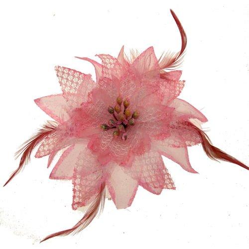 Acosta-Pink Glitter & piuma, motivo: giglio con perle in tessuto-Spilla a Clip, capelli, accessorio alla moda