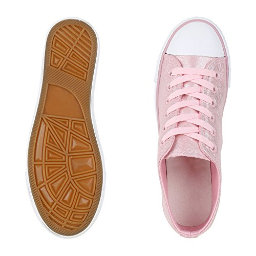 Trendige Unisex Sneakers | Low-Cut Modell | Basic Freizeit Schuhe | Viele Farben | Gr. 36-45 Rosa Glitzer