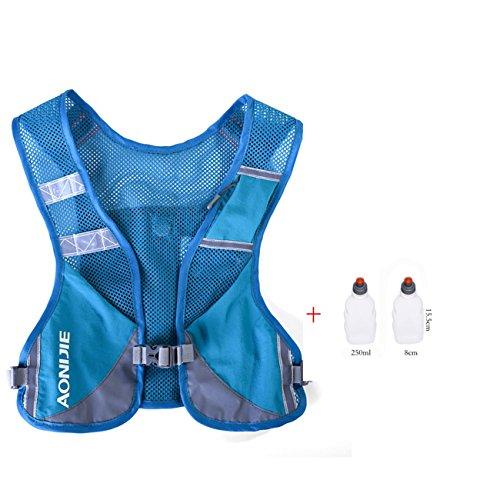 Imagen de aonijie  chaleco y  de hidratación ligero, para actividades al aire libre, senderismo, maratón, escalada, ciclismo, con 2 botellas de 250 ml , azul