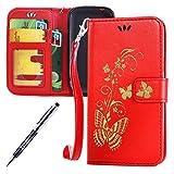 Kompatibel mit Samsung Galaxy S3 Mini Hülle Hülle Luxus Gold Schmetterling Muster Lanyard/Strap Pu Leder Hülle Handytasche Brieftasche Etui Schutzhülle Flip Wallet Case Cover Rot