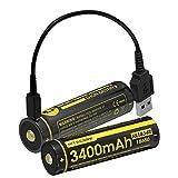 Nitecore NL1834R Lithium-Ionen Akku Typ 18650 mit 3.7V und 3400mAh und Integriertem Micro USB Ladeanschluss