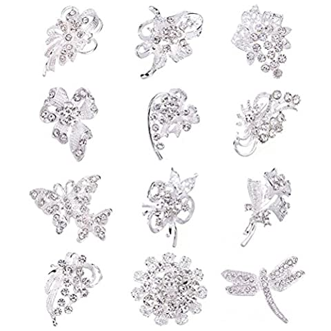 SANWOOD® 12Pcs Women's Rhinestone Hollow Flower Butterfly Broaches Bridal Scarf
