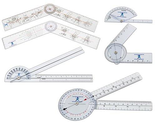 Winkelmesser Goniometer (Winkelmesser | Gelenkmesser | Goniometer aus Kunststoff, 6ER SET, mit verschiedenen Längen)