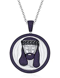 "Silvernshine Men's 1.40 Ct Round Amethyst Jesus Face Pendant 18"" Chain In 14K White Gold Fn"