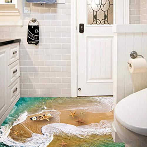 Qwerlp 3D Strand Meeresboden Aufkleber 3D Sands Seestern Dekoration Für Badezimmer Wohnzimmer Gund Dekoration Teich Wandaufkleber Poster