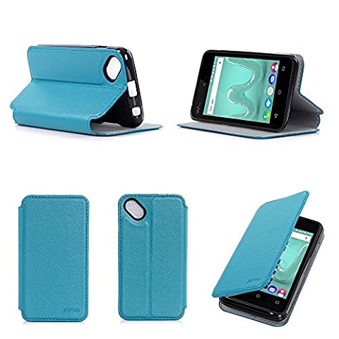 Etui Wiko Sunny 2 bleu turquoise luxe Ultra Slim Cuir Style avec stand - Housse Folio Flip Cover coque de protection smartphone Wiko Sunny2 bleen smartphone 2017 / 2018 - Accessoires pochette XEPTIO : Exceptional case !