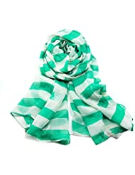 MZMZ ULTRA apretado el cuello WARMER Voile bufanda mujer chal rayas verde 175x100cm Toalla de playa