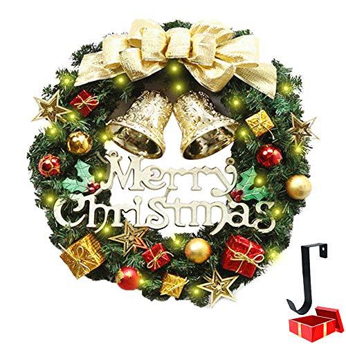 Weihnachtskranz mit Beleuchtung, Morbuy Weihnachten Lichterkette Dekoration Kranz als Stimmungslicht Innen und Außen Kamine Tür LED Batterie betrieben (30cm,Bell Geschenk)