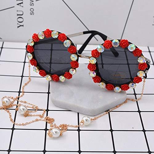 Yiph-Sunglass Sonnenbrillen Mode Romantische rosa Rose handgefertigte Metall Gold Blume barocke Sonnenbrille für Frauen kristall Eyewear Retro Stil quaste Kette Sonnenbrille (Farbe : Red)