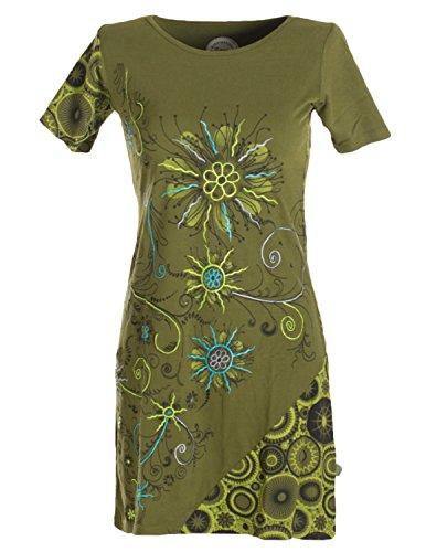 Vishes - Alternative Bekleidung - Kurzes Lagenlook Baumwollkleid mit Blumen bedruckt und bestickt olive 40 (Gipsy Girl Kostüme)