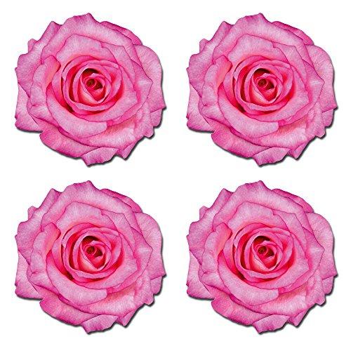 4x adhesivos decorativos de vinilo, diseño de flores rosa brillante rosa espejo caja papelera para ordenador portátil coche # 0181