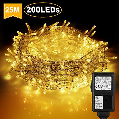WOWDSGN 25M 200 LEDs Lichterkette, Warmweiß, 8 Leuchtmodi Dimmbar, Strombetrieben mit EU Stecker, IP44 Wasserdicht, Lichterkette für Party, Feier, Hochzeit, Weihnachtsbeleuchtung für Innen und Außen