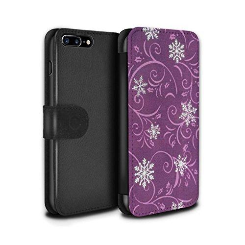Stuff4 Coque/Etui/Housse Cuir PU Case/Cover pour Apple iPhone 7 Plus / Turquoise Design / Motif flocon de neige Collection Rose