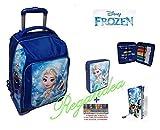 ZAINO TROLLEY Disney Frozen+ASTUCCIO PIENO 2 PIANI+DIARIO+30 PENNE GRATIS
