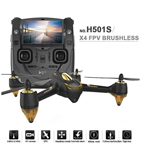 Hubsan H501S X4 Brushless FPV GPS Quadrocopter 5.8 Ghz Drohne mit 1080P Full HD Kamera und Follow-Me Modus RTH-Funktion Schwarz&Gold - 2