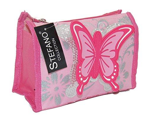 STEFANO Kinder Reisegepäck Schmetterling pink rosa --präsentiert von RabamtaGO®-- (Trolley) Set 4 teilig