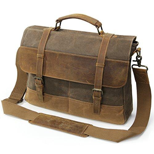 Lifewit Umhängetasche Herren Messenger Bag Wasserdicht Herrentasche Ledertasche Männer Aktentasche Schultertasche Vintage für 15 Zoll Laptop aus Leder und gewachste Canvas (Kaffee)