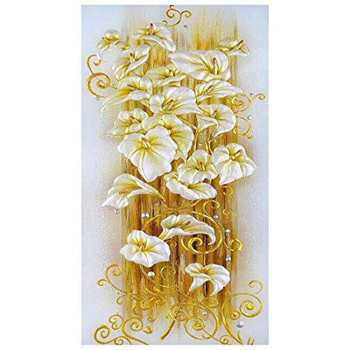 Luwu-Store Diamant Peinture Point De Croix Lily Fleur 3D Diamant Broderie Diamant Mosaïque Motif Décor À La Maison Cadeau