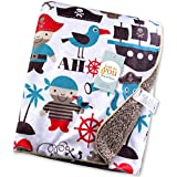 Baby Bucket Double Layer Velvet Fleece Newborn Printed Baby Blanket (White & Ahoy Brds)