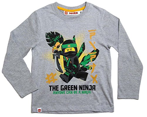 Lego-Ninjago-Kollektion-2017-Langarmshirt-98-104-110-116-122-128-134-140-Shirt-Jungen-Neu-Top-Grau