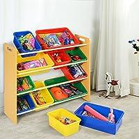 Costway Toy Storage Unit 12 Plastic Multicolor Bins Kids Children Play Organizer Boxes Shelf Furniture 4-Tiers