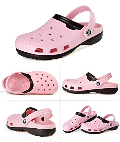 VWU Unisex Herren Damen Sommer Outdoor Breathable Mesh Schuhe Strand Aqua Clogs Pantoletten Freizeit Beach Sandals 4 Farben Rosa