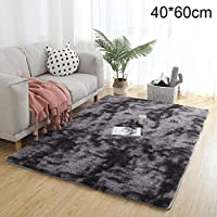 Therecoe86 Bathroom&Bedroom Carpet,Soft Tie-Dye Carpet Floor Mat Fluffy Antiskid Area Rug Home Living Room Decor - Light Grey 60 * 120cm