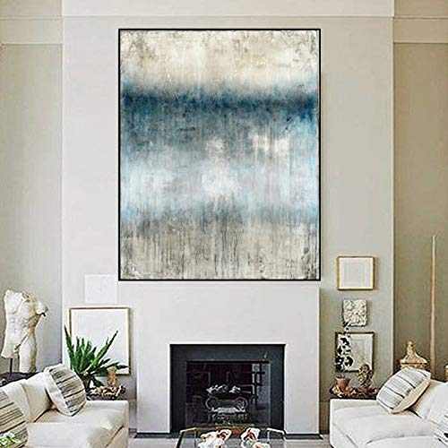 Dicke Messer abstrakte hohe qualität Moderne abstrakte weiß und grau türkis Alten leinwand dekor ölgemälde Schlafzimmer artwor 100x160cm 40x64inch weiß ()