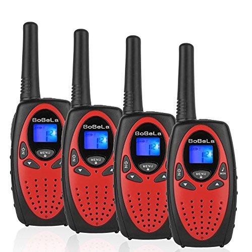 Bobela M880 Walkie Talkie Set für Kinder Funkgeräte mit Kordel LCD Dispplay / 3Km Lange Reichweite Walki Talki 8 Kanal 0.5w PMR VOX Walky Talky Geschenk für Urlaub Weihnachten (4er Set, Rot)