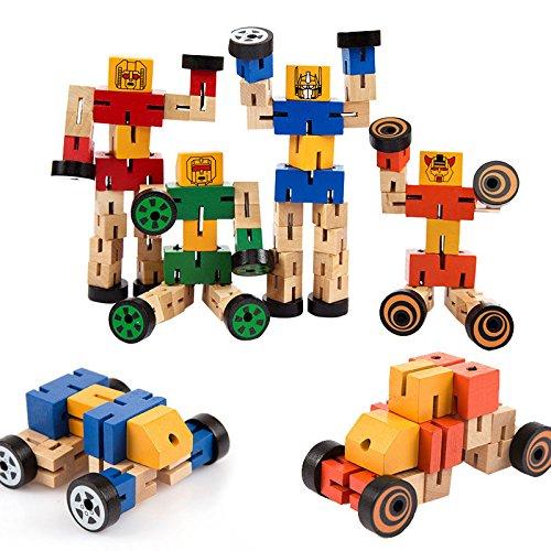Faironly Kinder Cool Holz Transformator verformbar Spielzeug Zauberwürfel Roboter Auto Menschen ändern Spielzeug - Farbe zufällig (Spielzeug-auto-transformator)