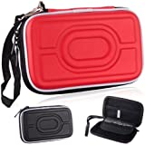 Hard Case Pouch with Hand Strap for Digital Products Use and Other Gadgets - Red / Black