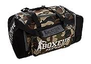 Borsone Boxeur Des Rues Camouflage, perfetto per la palestra è capiente e resistente. Le tasche contengono perfettamente tutta l'attrezzatura. Facile fa trasportare con tracolla regolabile imbottita e chiusure a zip.