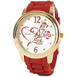 Womens Heart and Rose Design Silicone Rubber Strap Watch