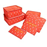Travel Packing Organizers - Clothes Cubes Shoe Bags Laundry Pouches For Suitcase Luggage, Storage Organizer 6 Set Color Red