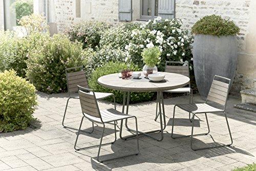 MACABANE 509016 Salon de Jardin Couleur Gris en Teck et Pierre andésite Dimension 120cm X 120cm X 77cm