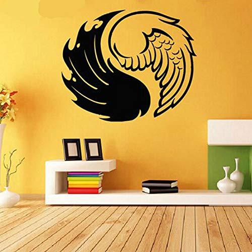 Black Wings Pattern Art Wandaufkleber Aufkleber Raumdekoration Vinyl Home Decor Removable Wallpaper Wandaufkleber Kaffee 69x57cm - Wallpaper Hot Rod