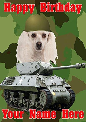 Pudel Hund J65Military Army Tank Fun Cute Happy Birthday A5personalisierbar Grußkarte geschrieben von uns Geschenke für alle 2016von Derbyshire UK -