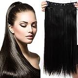 26' Extensions Cheveux Clips Monobande - Extension a Clip 66CM(26 pouces) - Noir Naturel