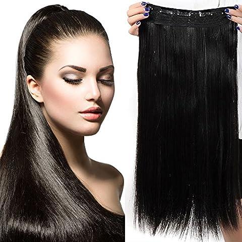 """26"""" Extensions Cheveux Clips Monobande - Extension a Clip 66CM(26 pouces) - Noir Naturel"""