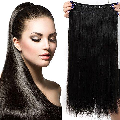 Extension clip fascia unica nero naturale capelli lunghi lisci one piece hair extensions 5 fermagli 3/4 full head larga 25cm lunga 58cm vari colori