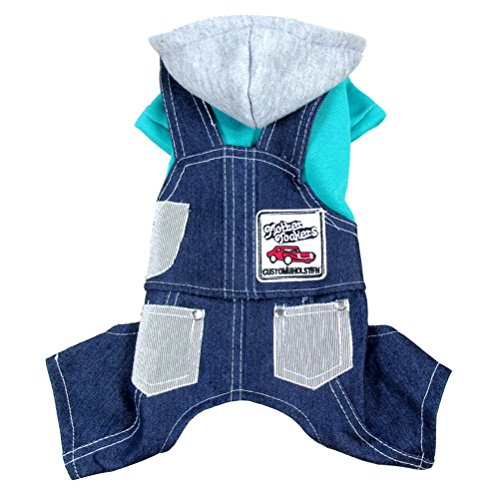 zunea Denim Kapuzen Pet Sweatshirts Overalls Hosen Jumpsuit Pyjama Fleece Warm Puppy Herbst Spring, für kleinen Hund Katze Denim Fleece-sweatshirt