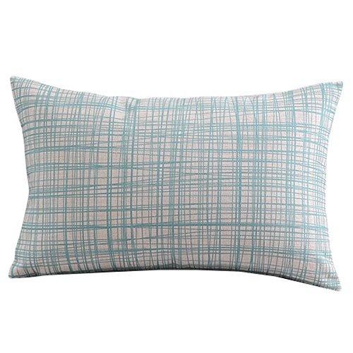 Createforlife Cotton Linen Decorative Throw Pillow Case Cushion Cover Light Blue Gingham Rectangle 12 8830 Cover