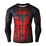 Born2RideTM Costume da supereroe, per ginnastica/ciclismo, a compressione, a maniche corte, da uomo 'New' Spiderman red/ black Long Sleeve Large