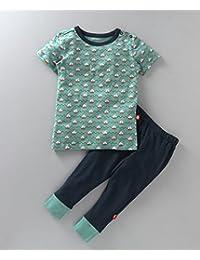 56f0cafcb6d10 Nino Bambino 100% Pure Organic Cotton Printed Blue Top & Bottom Set For  Baby Boys