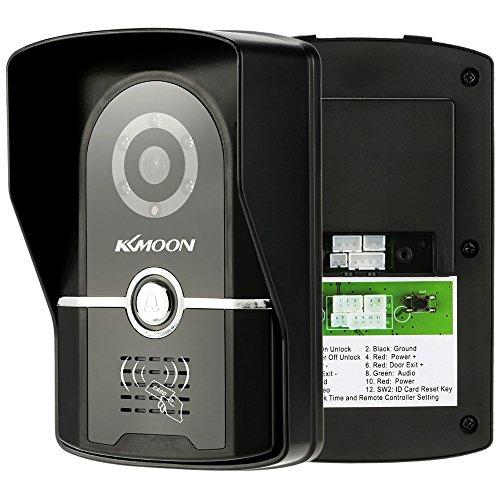 KKMOON 7 Inch Wired Video Door Intercom System Visual Intercom Doorbell with 2*800x480 Indoor Monitor + 1*700TVL Outdoor Camera + 6*RFID Card support ID Card Unlock Infrared Night View Rainproof Lock