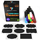 Artistic Vista - Liquid Chalk Pens / Markers. 10 PACK with 8 Chalk labels included. Artist Quality. Use on glass, window, chalkboard, blackboard, etc.